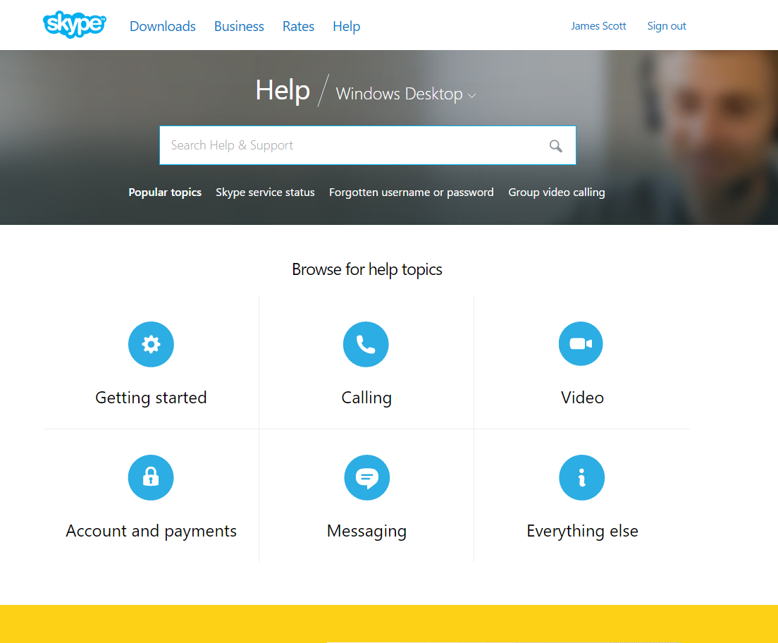 Skype home page pictures.
